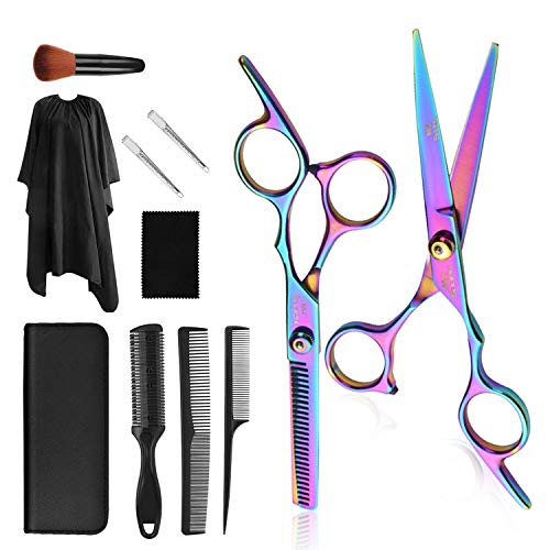 vfaejll Barber Hair Cutting Scissors Set Professional 11 PCS Colorful Hairdressing Salon Scissors Kit Stainless Steel Haircut Thinning Shears for Women/Men/Kids/Pets