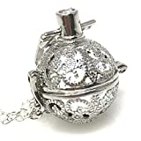 UMBRELLALABORATORY Steampunk FIRE Necklace - Pendant Glow Locket - Great Gifts for Teen Girls, Mother, Father, Little Girls Jewelry-Silver Snow White