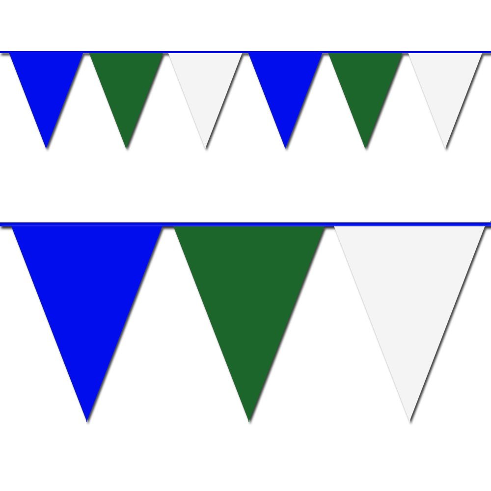 Blue, Green and White Triangle Pennant Flag 100 Ft. by Hughes Manufacturing