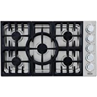 DCS CDU-365-L 36 Gas Cooktop 5 Sealed Dual Flow Burners, Continuous Grates and Stainless Steel