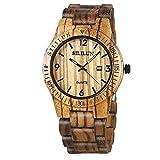 Mens Wooden Watch Analog Quartz Lightweight Handmade Wood Wrist Watch(brown)