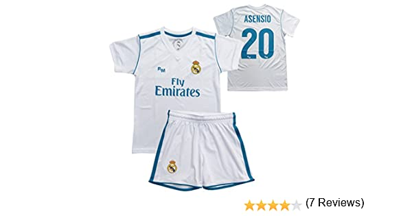 Conjunto - Kit 1ª Equipación Replica Oficial REAL MADRID CF 2017-2018 Dorsal ASENSIO - Tallaje NIÑO JUNIOR (6 años): Amazon.es: Deportes y aire libre