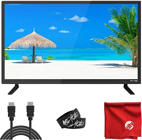 ATYME 24-Inch 720p 60Hz LED HD TV (240AH5HD) Lightweight Slim Built-in with HDMI, USB, VGA, High Resolution Bundle with Circuit City 6-Foot Ultra High Definition 4K HDMI Cable & Accessories (4 Items)