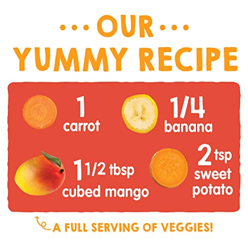 51iCno4TnkL - Happy Tot Organic Stage 4 Baby Food Love My Veggies Carrot Banana Mango & Sweet Potato, 4.22 Ounce Pouch (Pack Of 16) (Packaging May Vary)