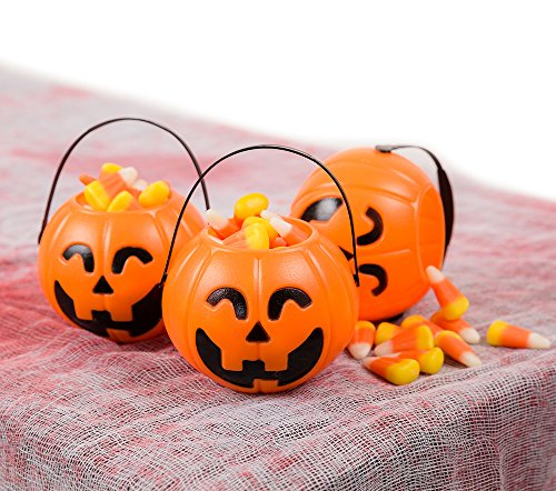 4 Pack Pumpkin Mini Buckets - Halloween Trick or Treat Bags Halloween Ornaments ()