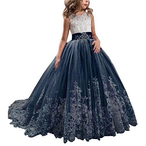 (KSDN Wedding Flower Girls Dress Lace Tulle Communion Pageant Gown with Bow Navy Custom Made)