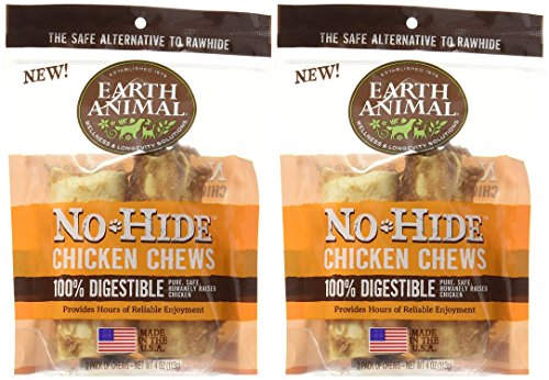 Earth Animal 2 Packages of No-Hide Chicken Chews, 4-Inch Length (2 Chews Per Pack/4 Total) by Earth Animal