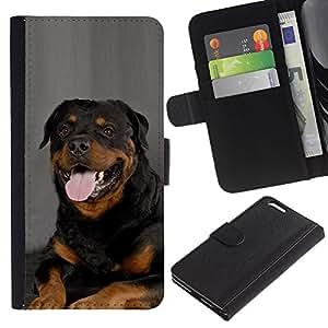 Estuche de Cuero Billetera del tirón Tarjeta de la Bolsa Titular de Suave Caso para Apple Iphone 6 PLUS 5.5 / CECELL Phone case / / Rottweiler Portrait Panting Tongue Pink Dog /