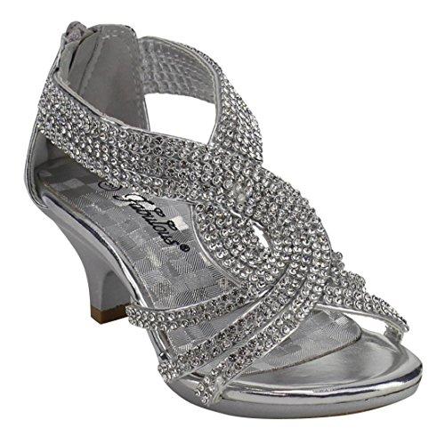 8820193f680 Angel 37K Little Girls Rhinestone Heel Platform Dress Sandals Silver 2