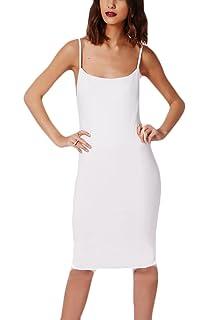 add028576 Vestidos Verano Mujer por La Rodilla Bodycon Vestido Elegantes Sencillos  Diario Sin Mangas Espalda Descubierta Color Sólido…