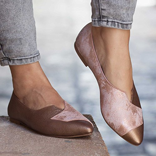 Pink Women's Leather Flats by Bangi Shoes