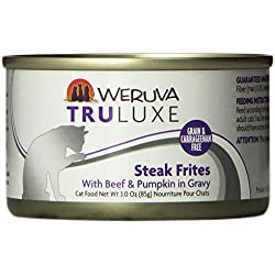 Weruva's TruLuxe Cat Food, Steak Frites with Beef & Pumpkin in Gravy, 3oz Can (Pack of 24)