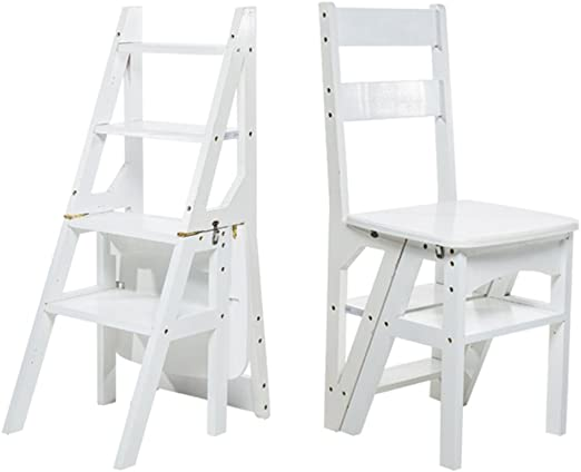 PENGYIZI HAIPENG De Madera Plegable Respaldo Silla 4 Pasos Escalera Emocionante Escalera Estante Escalera Taburete Asientos Uso Dual 3 Colores Opcional 37x39x89cm (Color : Blanco): Amazon.es: Hogar