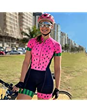 Women's Triathlon-Suit, One-Piece Short Sleeve,Tri-Suit, Padded Quick-Drying for Cycling WAITAO (Color : CJ242, Size : Small)