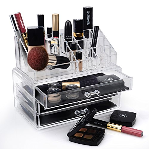 Drawer Acrylic Jewelry Chest (Home-it Clear acrylic Jewelry organizer and makeup organizer cosmetic organizer and Large 2 Drawer Jewelry Chest or makeup storage ideas Case Lipstick Liner Brush Holder make up boxes)