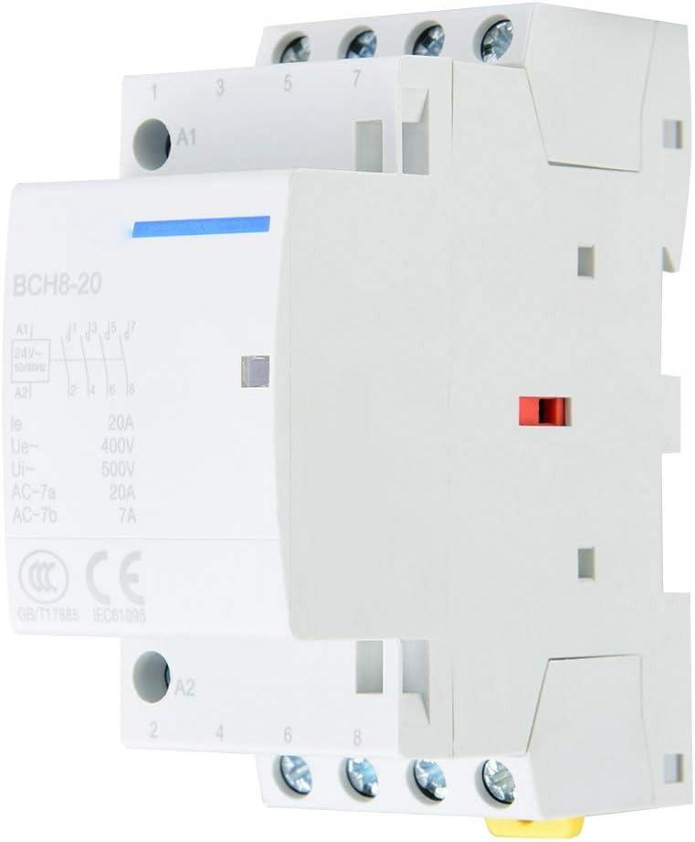Pbzydu Contactor de CA doméstico, 4P 4NO 20A 24V 220V / 230V 50 / 60Hz Montaje en riel DIN(220V/230V)