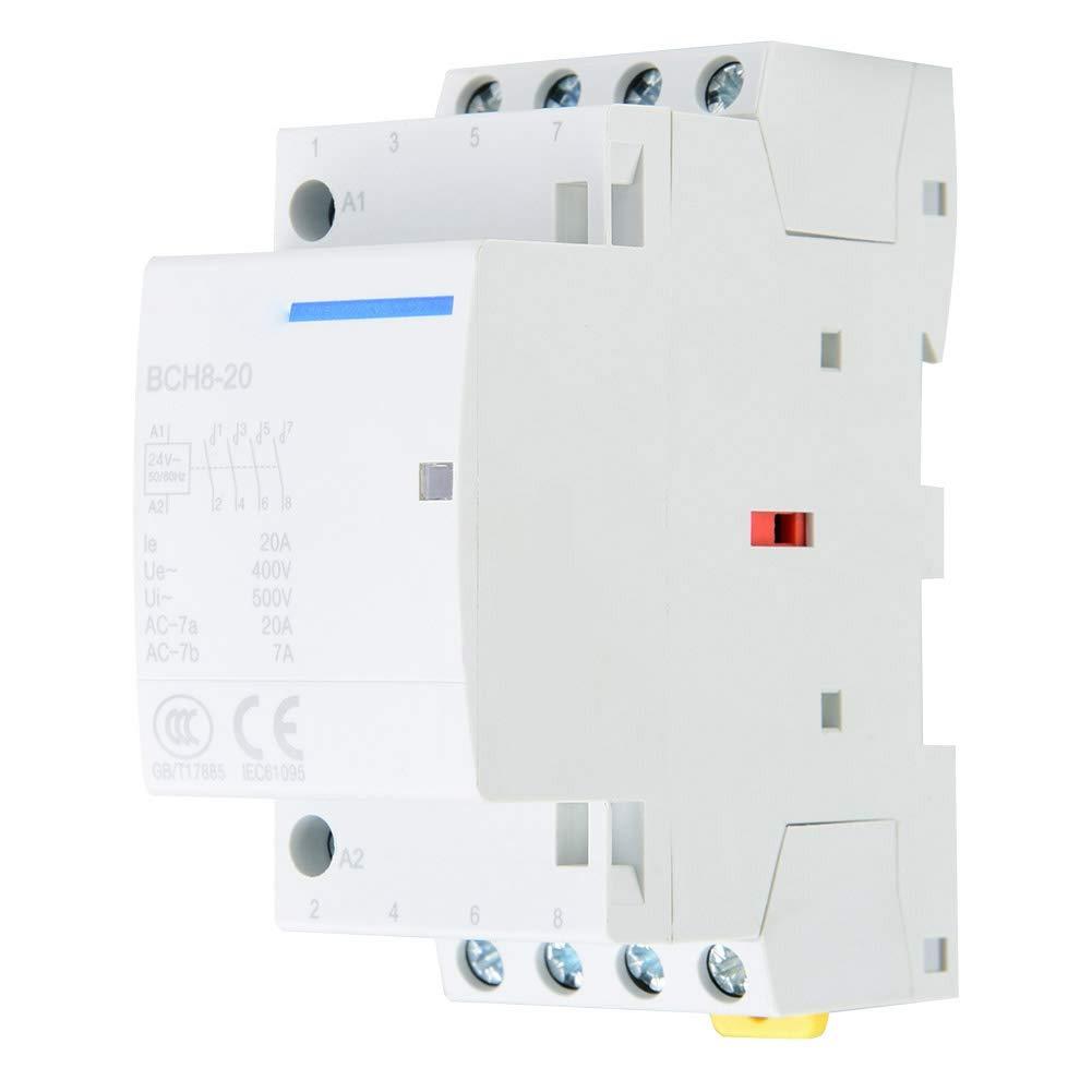 Contactor AC de 20A 4 polos 4NO 50/60HZ, Montaje en carril DIN (220V/230V)