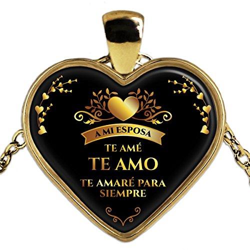 Collar Corazon de Oro Un buen regalo para mi esposa - Necklace heart gold plated