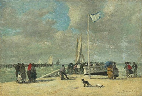 On the Jetty - Masterpiece Classic - Artist: Eugene Boudin c. 1869 (36x54 Giclee Gallery Print, Wall Decor Travel Poster)