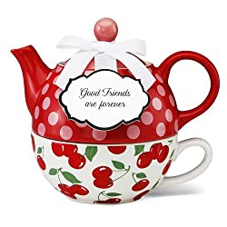 Jessie Steele You & Me Teapot Set – Cherries