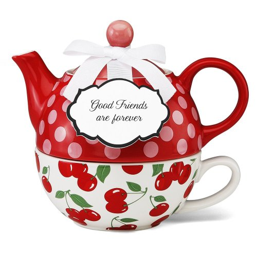 Pavilion Gift 49004 You and Me Tea for One Teapot Set by Jessie Steele