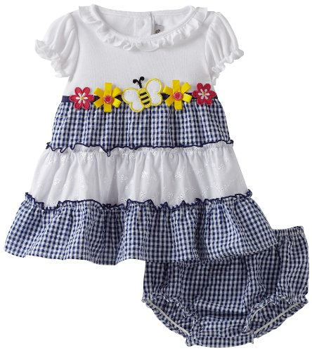 Youngland Baby Girls' Short Sleeve Color Block Bee Applique Seersucker Dress With Diaper Cover