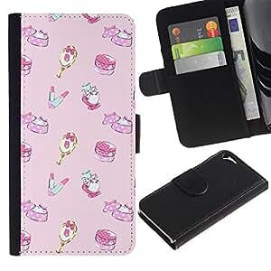 APlus Cases // Apple Iphone 5 / 5S // Pastel dulces cumpleaños los niños de Rosa // Cuero PU Delgado caso Billetera cubierta Shell Armor Funda Case Cover Wallet Credit Card