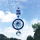 Waltz&F Crystal Sun Catcher Plus Dream Catcher for Window, Fengshui Rainbow Pendant with Chandelier Ball Prisms