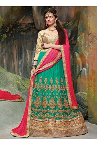 PCC Indian Women Designer Wedding green Lehenga Choli K-4595-40298