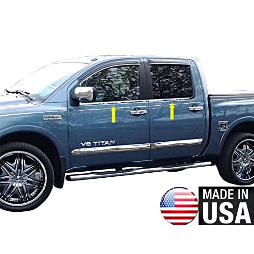 MaxMate Made In USA Works With 04-2015 Nissan Titan Crew Cab 4PC Stainless Steel Chrome Window Sill Trim Overlay