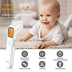 JUMPER Digital Medical Infrared Forehead Thermometer for Fever, Clinical Body Temporal Thermometer with Fast Accurate Fever Indicator for Infants & Adults