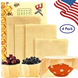 Premium Reusable Beeswax Food Wrap, Organic Eco Friendly Food Wraps - Sustainable, Washable Plastic Free & Biodegradable Food Storage, Healthy and Breathable Material. Pack of 4