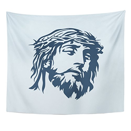 Breezat Tapestry Bible Face of Jesus Biblical Catholic Christ Christianity Home Decor Wall Hanging for Living Room Bedroom Dorm 50x60 Inches by Breezat