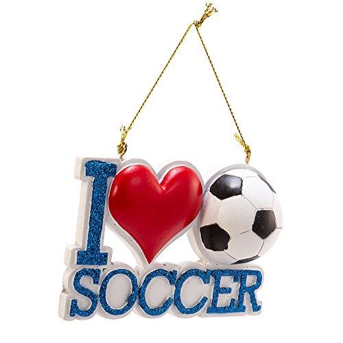 Kurt Adler Resin I Love Soccer Ornament