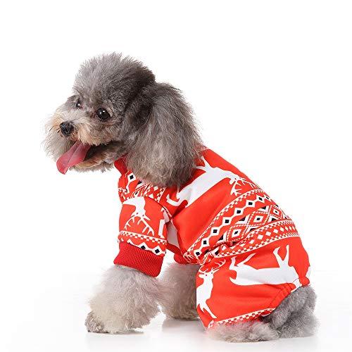 BWOGUE Christmas Elk Dog Pajamas Pet Clothes Jumpsuit Apparel Xmas Cat Costumes Onesies Soft Christmas PJS Santa…