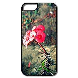 IPhone 5/5S Covers, Red Flower Case For IPhone 5 - White/black Hard Plastic