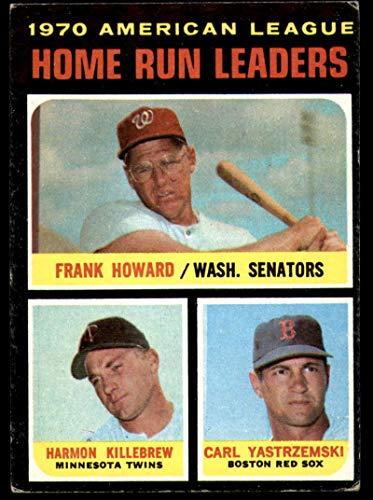 Cards Baseball Yastrzemski Carl - Baseball MLB 1971 Topps #65 Frank Howard/Harmon Killebrew/Carl Yastrzemski AL HR Leaders VG Very Good