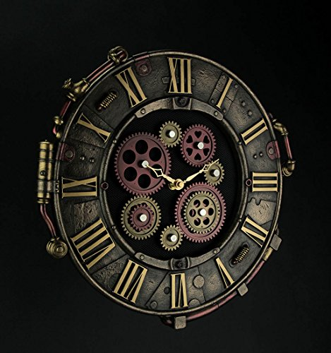 Resin Wall Clocks Steampunk Bronze Finish Rivet Plate Wall Clock With Moving Gears 14.5 X 14.5 X 1 Inches Bronze 4