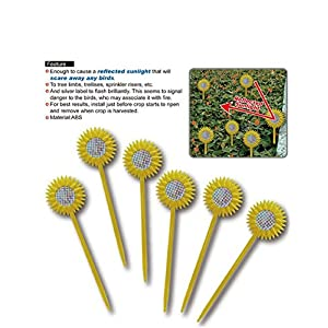 Bird Repellent (6 pack) - Value Set - The Original Sunflower Reflective Repeller Keeps All Kind Of Birds Away from Your Property - Great Deterrent for Woodpeckers, Pigeons and Most Other Pest Birds.