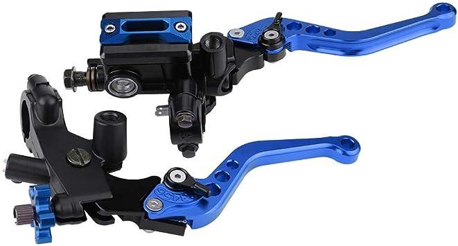1 Paar Motorrad Brems Und Kupplungshebel Universal Bremskupplung Hauptbremszylinder Behälter 7 8 22mm Blau Auto