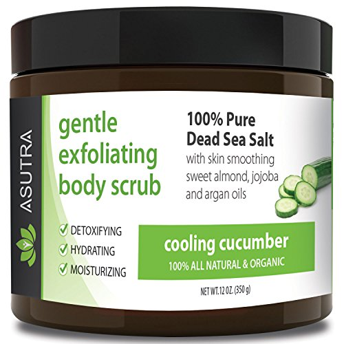 "ORGANIC Exfoliating Body Scrub – ""COOLING CUCUMBER"" – 100% Pure Dead Sea Salt Scrub / Ultra Hydrating & Moisturizing with SKIN SMOOTHING Jojoba, Sweet Almond & Argan Oils – 12oz"