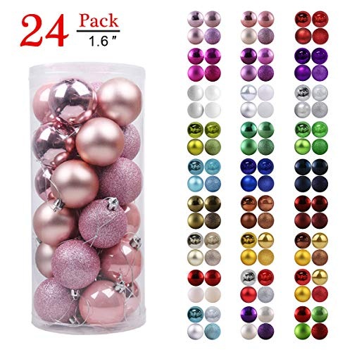 GameXcel Christmas Balls Ornaments for Xmas Tree - Shatterproof Christmas Tree Decorations Large Hanging Ball Pink 1.6