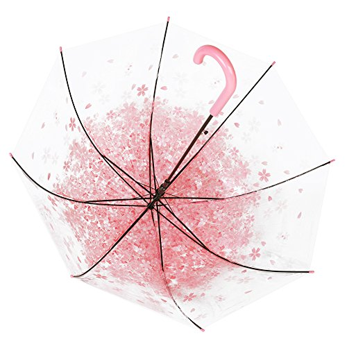 Cherry umbrella, romantic and compact transparent umbrella and rainproof cherry blossom pattern, semi-automatic (pink) by RiseSunUS (Image #1)