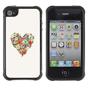 Paccase / Suave TPU GEL Caso Carcasa de Protección Funda para - Spring Flowers Love Floral White - Apple Iphone 4 / 4S