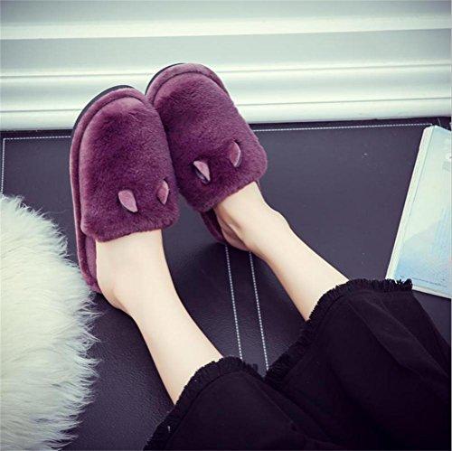 mhgao Lady algodón Zapatillas en otoño y invierno interior espesan Mute Skid cálido zapatillas de casa 5