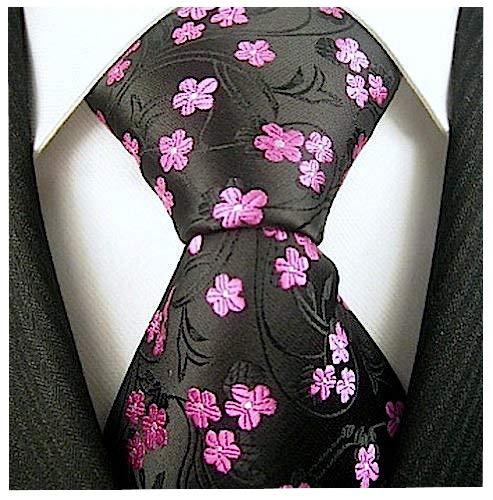 Floral Ties for Men - Woven Necktie - Mens Black Pink Ties Flower Neck Tie - Hot Pink Necktie