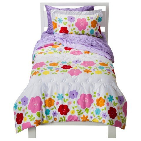 Circo Bloom Collection Flower Girls 7 piece Bedding Comforter Sheet Set Bed in a Bag - Full Size