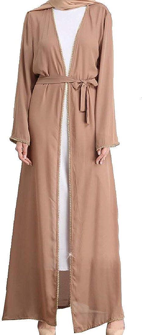 Abeaicoc Women Islamic Muslim Loose Fit Long Sleeve Casual Maxi Dress
