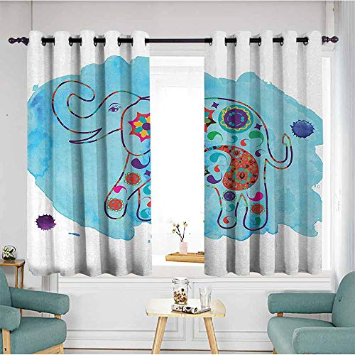 - duommhome Elephant Curtain for Kids Asian Thailand Elephant Colored in Paisleys Aqua Background Watercolor Nature 70%-80% Light Shading, 2 Panels,55