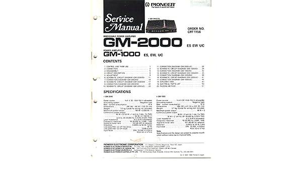 Pioneer GM-2000 Bridgeable Power Amplifier Service Manual